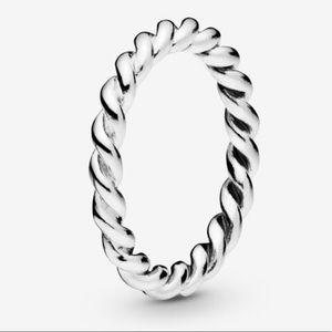 Pandora twist swirling band ring